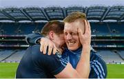 19 February 2017; St. Patrick's Westport's Lee Keegan, left, and Kevin Keane celebrate after the AIB GAA Football All-Ireland Intermediate club championship final match between St. Colmcille's and St. Patrick's Westport at Croke Park in Dublin. Photo by Piaras Ó Mídheach/Sportsfile
