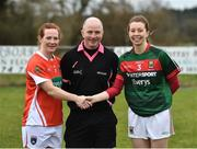 19 February 2017; Armagh captain Caoimhe Morgan and Mayo captain Sarah Tierney along with Referee Gavin Corrigan before the Lidl Ladies Football National League round 3 match between Armagh and Mayo at Clonmore in Armagh. Photo by Oliver McVeigh/Sportsfile