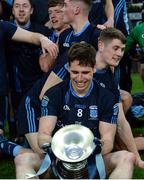 19 February 2017; Lee Keegan of St. Patrick's Westport examines the cup after the AIB GAA Football All-Ireland Intermediate club championship final match between St. Colmcille's and St. Patrick's Westport at Croke Park in Dublin. Photo by Eóin Noonan/Sportsfile