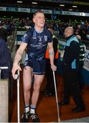 19 February 2017; Kevin Keane of St. Patrick's Westport on crutches after picking up an injury in the first half following the AIB GAA Football All-Ireland Intermediate club championship final match between St. Colmcille's and St. Patrick's Westport at Croke Park in Dublin. Photo by Eóin Noonan/Sportsfile