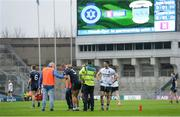 19 February 2017; Kevin Keane of St. Patrick's Westport is tended to by medics after picking up an injury in the first half during the AIB GAA Football All-Ireland Intermediate club championship final match between St. Colmcille's and St. Patrick's Westport at Croke Park in Dublin. Photo by Piaras Ó Mídheach/Sportsfile
