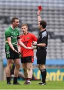 19 February 2017; Diarmaid Carroll of Rock St Patrick's is shown the red card by referee Jerome Henry during the AIB GAA Football All-Ireland Junior club championship final match between Rock St. Patrick's and Glenbeigh-Glencar at Croke Park in Dublin. Photo by Piaras Ó Mídheach/Sportsfile