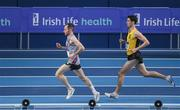19 February 2017; Matthew Bergin, Dundrum South Dublin AC, Dublin, leads eventual winner Eóin Everard, Kilkenny City Harriers AC, in the Men's 3000m Final during the Irish Life Health National Senior Indoor Championships at the Sport Ireland National Indoor Arena in Abbotstown, Dublin. Photo by Brendan Moran/Sportsfile