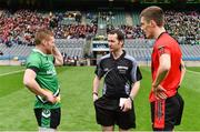 19 February 2017; Referee Jerome Henry with team captains Thomas Bloomer of Rock St Patrick's, left, and Colin McGillycuddy of Glenbeigh-Glencar before the AIB GAA Football All-Ireland Junior club championship final match between Rock St. Patrick's and Glenbeigh-Glencar at Croke Park in Dublin. Photo by Piaras Ó Mídheach/Sportsfile