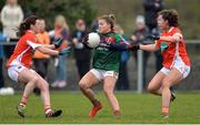 19 February 2017; Sarah Rowe of Mayo in action against Mairead Tennyson, left, and Clodagh McCambridge of Armagh during the Lidl Ladies Football National League round 3 match between Armagh and Mayo at Clonmore in Armagh. Photo by Oliver McVeigh/Sportsfile