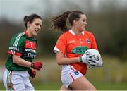 19 February 2017; Aimiee Mackin of Armagh in action against Martha Carter of Mayo during the Lidl Ladies Football National League round 3 match between Armagh and Mayo at Clonmore in Armagh. Photo by Oliver McVeigh/Sportsfile