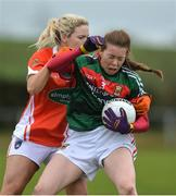 19 February 2017; Sarah Tierney of Mayo in action against Eve Lavery of Armagh during the Lidl Ladies Football National League round 3 match between Armagh and Mayo at Clonmore in Armagh. Photo by Oliver McVeigh/Sportsfile
