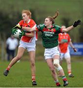 19 February 2017; Blaithinn Mackin of Armagh in action against Aileen Gilroy of Mayo during the Lidl Ladies Football National League round 3 match between Armagh and Mayo at Clonmore in Armagh. Photo by Oliver McVeigh/Sportsfile