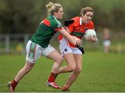 19 February 2017; Caroline O'Hanlon of Armagh in action against Fiona Doherty of Mayo during the Lidl Ladies Football National League round 3 match between Armagh and Mayo at Clonmore in Armagh. Photo by Oliver McVeigh/Sportsfile