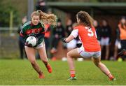 19 February 2017; Sarah Rowe of Mayo in action against Clodagh McCambridge of Armagh during the Lidl Ladies Football National League round 3 match between Armagh and Mayo at Clonmore in Armagh. Photo by Oliver McVeigh/Sportsfile