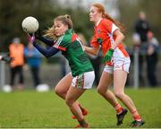 19 February 2017; Sarah Rowe of Mayo in action against Blaithinn Mackin of Armagh during the Lidl Ladies Football National League round 3 match between Armagh and Mayo at Clonmore in Armagh. Photo by Oliver McVeigh/Sportsfile