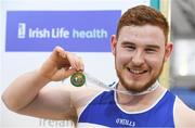 19 February 2017; John Kelly, Finn Valley AC, Co Donegal, with his gold medal after winning the Men's Shot Put Final during the Irish Life Health National Senior Indoor Championships at the Sport Ireland National Indoor Arena in Abbotstown, Dublin. Photo by Brendan Moran/Sportsfile