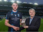 19 February 2017; Pictured is Joe Cawley, AIB Branch Manager, Westport, presenting Shane Scott from St. Patrick's Westport with the Man of the Match award for his outstanding performance in the AIB Junior Football Club Championship Final, St. Colmcille's vs St. Patrick's Westport in Croke Park. For exclusive content and behind the scenes action from the Club Championships follow AIB GAA on Twitter and Instagram @AIB_GAA and facebook.com/AIBGAA #TheToughest Photo by Eóin Noonan/Sportsfile