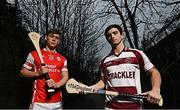 30 February 2017; Cuala's Con O'Callaghan is pictured alongside Cormac O'Doherty from Slaughtneil ahead of their clash in the AIB GAA Senior Hurling Club Championship Semi Final on February 25th. For exclusive content and behind the scenes action from the Club Championships follow AIB GAA on Twitter and Instagram @AIB_GAA and facebook.com/AIBGAA. Photo by Stephen McCarthy/Sportsfile *** NO REPRODUCTION FEE ***