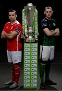 20 February 2017; Christy Fagan of St Patrick's Athletic, left, and Dylan Connolly of Bray Wanderers, right, in attendance at the SSE Airtricity & FAI Photoshoot with League Players at Aviva Stadium in Lansdowne Road, Dublin.  Photo by Seb Daly/Sportsfile