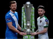 20 February 2017; Keith Cowan of Finn Harps, left, and Sean Maguire of Cork City, right, in attendance at the SSE Airtricity & FAI Photoshoot with League Players at Aviva Stadium in Lansdowne Road, Dublin.  Photo by Seb Daly/Sportsfile