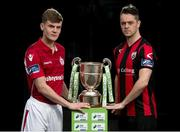 20 February 2017; Adam O'Connor of Shelbourne FC and Paul Skinner of Longford Town in attendance at the SSE Airtricity League Launch 2017 at the Aviva Stadium in Lansdowne Road in Dublin. Photo by Seb Daly/Sportsfile
