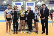 19 February 2017; Medallists in the Women's 400m Final, silver medallist Sinead Denny, Dundrum South Dublin AC, Dublin, gold medallist Phil Healy, Bandon AC, Co Cork, and bronze medallist Mandy Gault, Lagan Valley AC, Co Antrim, with, from left, Caroline O'Shea, Georgina Drumm, President of Athletics Ireland, and John Foley, CEO, Athletics Ireland, during the Irish Life Health National Senior Indoor Championships at the Sport Ireland National Indoor Arena in Abbotstown, Dublin. Photo by Brendan Moran/Sportsfile