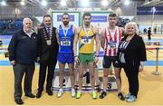 19 February 2017; Medallists in the Men's 60m Hurdles Final, silver medallist Gerard O'Donnell, Carrick on Shannon AC, Co Leitrim, gold medallist Ben Reynolds, North Down AC, Co Down, and bronze medallist Shane Aston, Trim AC, Co Meath, with, from left, John Cronin, Event Director, Cllr Darragh Butler, Mayor of Fingal, and Georgina Drumm, President of Athletics Ireland, during the Irish Life Health National Senior Indoor Championships at the Sport Ireland National Indoor Arena in Abbotstown, Dublin. Photo by Brendan Moran/Sportsfile