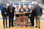 19 February 2017; Medallists in the Women's 200m Final, silver medallist Sarah McCarthy, Mid Sutton AC, Co Dublin, gold medallist Sharlele Mawdsley, Newport AC, Co Tipperary, and bronze medallist Cliodhna Manning, Kilkenny City Harriers AC, with, from left, Finn Reilly, Cllr Darragh Butler, Mayor of Fingal, Georgina Drumm, President of Athletics Ireland, and Jim Dowdall, Managing Director, Irish Life Health, during the Irish Life Health National Senior Indoor Championships at the Sport Ireland National Indoor Arena in Abbotstown, Dublin. Photo by Brendan Moran/Sportsfile
