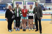 19 February 2017; Medallists in the Pole Vault Final, silver medallist Claire Wilkinson, Ballymena & Antrim AC, Co Antrim, gold medallist Ellen McCartney, City of Lisburn AC, Co Antrim, and bronze medallist Emma Coffey, Carraig na Bhfear AC, Co Cork, with, from left, Georgina Drumm, President of Athletics Ireland, and George Maybury, Chairman of Finance and Risk, Athletics Ireland, during the Irish Life Health National Senior Indoor Championships at the Sport Ireland National Indoor Arena in Abbotstown, Dublin. Photo by Brendan Moran/Sportsfile