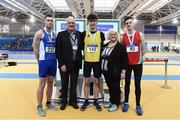 19 February 2017; Medallists in the Men's High Jump, silver medallist Dion Ryan, Waterford AC, Waterford, gold medallist Ryan Carthy - Walshe, Adamstown AC, Co Wexford, and bronze medallist Adam Hill, City of Lisburn AC, Co Antrim, with, from left, Svein Arne Hansen, President of European Athletics and Georgina Drumm, President of Athletics Ireland, during the Irish Life Health National Senior Indoor Championships at the Sport Ireland National Indoor Arena in Abbotstown, Dublin. Photo by Brendan Moran/Sportsfile