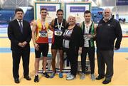 19 February 2017; Medallists in the Men's 60m Final, silver medallist Eóin Dogerty, Tallaght AC, Co Dublin, gold medallist Leon Reid, Menapians AC, Co Wexford, and bronze medallist Dean Adams, Ballymena & Antrim AC, Co Antrim, with, from left, John Foley, CEO, Athletics Ireland, Georgina Drumm, President of Athletics Ireland, and John Cronin, Event Director, during the Irish Life Health National Senior Indoor Championships at the Sport Ireland National Indoor Arena in Abbotstown, Dublin. Photo by Brendan Moran/Sportsfile