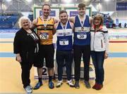 19 February 2017; Medallists in the Men's Shot Put Final, silver medallist David Tierney, Leevale AC, Cork, gold medallist John Kelly, Finn Valley AC, Co Donegal, and bronze medallist Gavin McLaughlin, Finn Valey AC, Co Donegal, with, from left, Georgina Drumm, President of Athletics Ireland, and Moira Aston, Athletics Ireland, during the Irish Life Health National Senior Indoor Championships at the Sport Ireland National Indoor Arena in Abbotstown, Dublin. Photo by Brendan Moran/Sportsfile