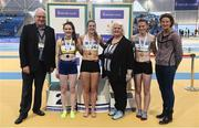 19 February 2017; Medallists in the Women's 800m Final, silver medallist Alanna Lally, UCD AC, Dublin, gold medallist Fiona Kehoe, Kilmore AC, Co Wexford, and bronze medallist Erin McIlveen, City of Lisburn AC, Co Antrim, with, from left, Svein Arne Hansen, President of European Athletics, Georgina Drumm, President of Athletics Ireland, and former Irish athlete Sonia O'Sullivan during the Irish Life Health National Senior Indoor Championships at the Sport Ireland National Indoor Arena in Abbotstown, Dublin. Photo by Brendan Moran/Sportsfile