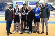 19 February 2017; Medallists in the Men's 200m Final, silver medallist David McDonald, Menapians AC, Co Wexford, gold medallistLeon Reid, Menapians AC, Co Wexford, and bronze medallist Eanna Madden, Carrick on Shannon, Co Leitrim, with, from left, Ciaran O Cathain, former President, Athletics Ireland, Georgina Drumm, President of Athletics Ireland, and Jim Dowdall, Managing Director, Irish Life Health, during the Irish Life Health National Senior Indoor Championships at the Sport Ireland National Indoor Arena in Abbotstown, Dublin. Photo by Brendan Moran/Sportsfile