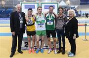 19 February 2017; Medallists in the Men's 800m Final, silver medallist Kevin McGrath, Bohermeen AC, Co Meath, gold medallist Kieran Kelly, Raheny Shamrocks AC, Dublin, and bronze medallist Niall Tuohy, Ferrybank AC, Waterford, with, from left, Svein Arne Hansen, President of European Athletics, former Irish athlete Sonia O'Sullivan and Georgina Drumm, President of Athletics Ireland, during the Irish Life Health National Senior Indoor Championships at the Sport Ireland National Indoor Arena in Abbotstown, Dublin. Photo by Brendan Moran/Sportsfile
