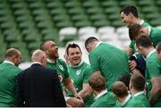 24 February 2017; Members of the Ireland team including Simon Zebo, left, and Jonathan Sexton share a joke during the captain's run at the Aviva Stadium in Dublin. Photo by Ramsey Cardy/Sportsfile