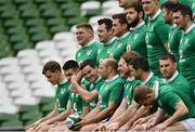 24 February 2017; Jonathan Sexton alongside his Ireland team-mates sit for a team photograph ahead of the captain's run at the Aviva Stadium in Dublin. Photo by Ramsey Cardy/Sportsfile