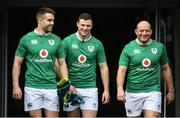 24 February 2017; Ireland team-mates, from left, Conor Murray, Robbie Henshaw and captain Rory Best in conversation ahead of the captain's run at the Aviva Stadium in Dublin. Photo by Ramsey Cardy/Sportsfile