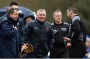 24 February 2017; Limerick IT manager Davy Fitzgerald, left, in conversation with referee Paud O'Dwyer during the Independent.ie HE GAA Fitzgibbon Cup semi-final meeting between Mary Immaculate College Limerick and Limerick IT at Dangan, in Galway. Photo by Piaras Ó Mídheach/Sportsfile