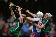 24 February 2017; Aaron Gillane of Mary Immaculate College Limerick in action against Jamie Shanahan, left, and Barry O'Connell of Limerick IT during the Independent.ie HE GAA Fitzgibbon Cup semi-final meeting between Mary Immaculate College Limerick and Limerick IT at Dangan, in Galway. Photo by Piaras Ó Mídheach/Sportsfile