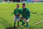 24 February 2017; Match day mascot James Kelly, from Cill Dara RFC, KIldare, with Ireland captain Calvin Nash before RBS U20 Six Nations Rugby Championship match between Ireland and France at Donnybrook Stadium, in Donnybrook, Dublin. Photo by Brendan Moran/Sportsfile