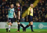24 February 2017; Referee Paul McLaughlin points to the penalty spot to award a penalty to Derry City during the SSE Airtricity League Premier Division match between Bohemians and Derry City at Dalymount Park, in Dublin. Photo by Seb Daly/Sportsfile