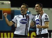 24 February 2017; Robbie Benson, left, of Dundalk celebrates after scoring his side's first goal with teammate Michael Duffy during the SSE Airtricity League Premier Division match between Dundalk and Shamrock Rovers at Oriel Park, in Dundalk. Photo by David Maher/Sportsfile