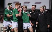 24 February 2017; Tommy O'Brien, centre, of Ireland celebrates with team-mates after scoring their side's second try during the RBS U20 Six Nations Rugby Championship match between Ireland and France at Donnybrook Stadium, in Donnybrook, Dublin. Photo by Brendan Moran/Sportsfile