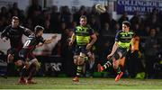 24 February 2017; Joey Carbery of Leinster kicks ahead, before going on to collect the kick, in the build up to his side's fourth try during the Guinness PRO12 Round 16 match between Newport Gwent Dragons and Leinster at Rodney Parade in Newport, Wales. Photo by Stephen McCarthy/Sportsfile