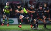 24 February 2017; Joey Carbery of Leinster is tackled by Ollie Griffiths of Newport Gwent Dragons during the Guinness PRO12 Round 16 match between Newport Gwent Dragons and Leinster at Rodney Parade in Newport, Wales. Photo by Stephen McCarthy/Sportsfile