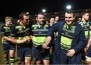 24 February 2017; Leinster players, from left, Rhys Ruddock, Mike Ross and Peter Dooley following the Guinness PRO12 Round 16 match between Newport Gwent Dragons and Leinster at Rodney Parade in Newport, Wales. Photo by Stephen McCarthy/Sportsfile
