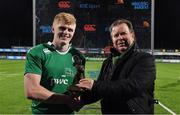 24 February 2017; Niall Dineen, Head of Commercial for Electric Ireland, proud sponsor of the U20's Six Nations Home Games, presents Tommy O'Brien of Ireland with the Player of the Match award for his outstanding performance in the Electric Ireland U20s Six Nations Home Game, Ireland U20 v France U20 in Donnybrook Stadium. Electric Ireland believe in Smarter Living and for rugby fans these matches are the smarter choice to experience the Six Nations atmosphere while seeing at first hand the future stars of Irish rugby.    #FutureStars Photo by Brendan Moran/Sportsfile