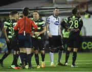 24 February 2017; Graham Burke, right, of Shamrock Rovers is sent off after been shown the red card from referee Neil Doyle during the SSE Airtricity League Premier Division match between Dundalk and Shamrock Rovers at Oriel Park, in Dundalk. Photo by David Maher/Sportsfile