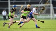 25 February 2017; Stephen Cahill of Mary Immaculate College Limerick in action against Colin Dunford, left, and Jack Fagan, centre, of IT Carlow during the Independent.ie HE GAA Fitzgibbon Cup Final match between IT Carlow and Mary Immaculate College Limerick at Pearse Stadium in Galway. Photo by Matt Browne/Sportsfile