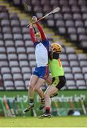 25 February 2017; Colm Galvin of Mary Immaculate College Limerick in action against Charles Dwyer of IT Carlow during the Independent.ie HE GAA Fitzgibbon Cup Final match between IT Carlow and Mary Immaculate College Limerick at Pearse Stadium in Galway. Photo by Matt Browne/Sportsfile