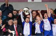 25 February 2017; Mary Immaculate College Limerick captain Eoin Quirke lifts the Fitzgibbon Cup after the Independent.ie HE GAA Fitzgibbon Cup Final match between IT Carlow and Mary Immaculate College Limerick at Pearse Stadium in Galway. Photo by Matt Browne/Sportsfile