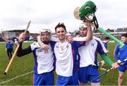 25 February 2017; Mary Immaculate College Limerick players from left, Luke Meade, Conor Twomey and Pa Ryan celebrate after the Independent.ie HE GAA Fitzgibbon Cup Final match between IT Carlow and Mary Immaculate College Limerick at Pearse Stadium in Galway. Photo by Matt Browne/Sportsfile