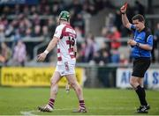 25 February 2017; Cormac McKenna of Slaughtneil is shown a red card by referee Colm Lyons during the AIB GAA Hurling All-Ireland Senior Club Championship Semi-Final match between Cuala and Slaughtneil at the Athletic Grounds in Armagh. Photo by Eóin Noonan/Sportsfile